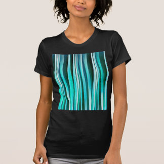 Turquoise and Cyan Ocean Stripy Lines Pattern T-Shirt