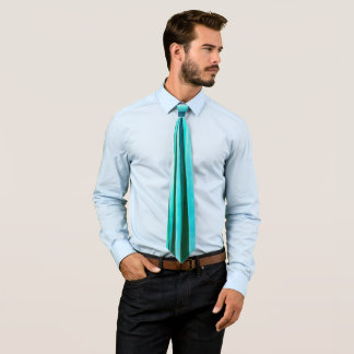 Turquoise and Cyan Ocean Stripy Lines Pattern Tie
