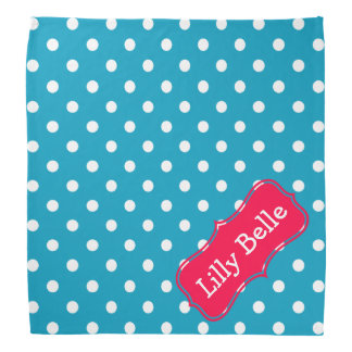 Turquoise and Flower Pink Polka Dot Personalized Bandana