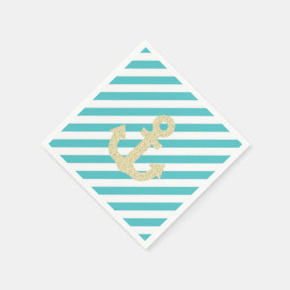Turquoise and Gold Anchor Napkins Disposable Napkins