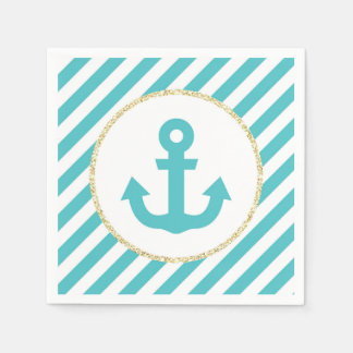 Turquoise and Gold Anchor Napkins Paper Napkin
