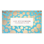 Turquoise and Gold Circle Pattern Beauty Salon Business Card Template