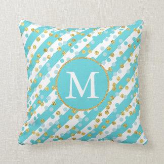 Turquoise and Gold Confetti Stripes Monogram Throw Pillow