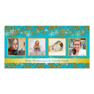 Turquoise and Gold Family Photo Christmas Card