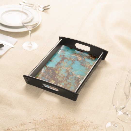 Turquoise and gold food trays