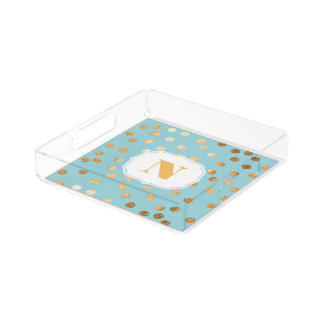 Turquoise and Gold Glitter City Dots Monogram Tray