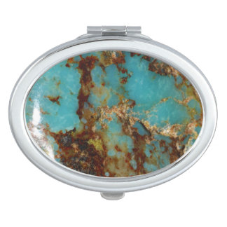 Turquoise and gold makeup mirror