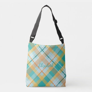 turquoise and gold summertime colors tartan plaid crossbody bag