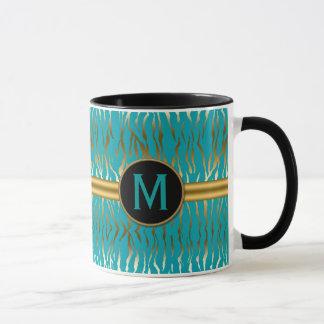 Turquoise and Gold Zebra Stripe Pattern Mug