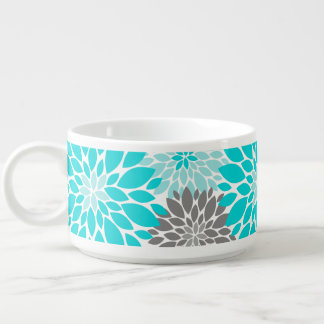 Turquoise and Gray Chrysanthemums Floral Pattern Bowl