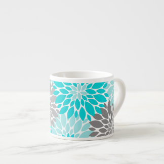 Turquoise and Gray Chrysanthemums Floral Pattern Espresso Cup