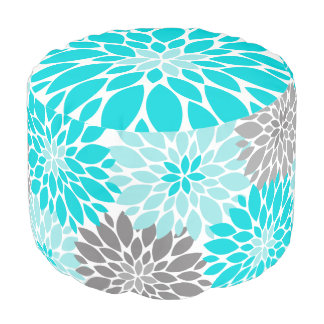 Turquoise and Gray Chrysanthemums Floral Pattern Pouf