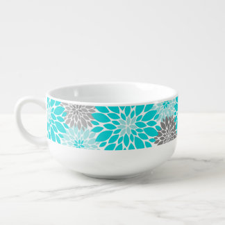 Turquoise and Gray Chrysanthemums Floral Pattern Soup Mug