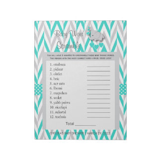 Turquoise and Gray Elephant Baby Shower Game Notepad