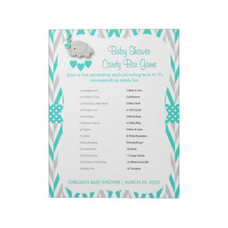 Turquoise and Gray Elephant Baby Shower - Game Notepad