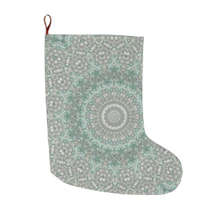 Turquoise and Gray Holiday Large Christmas Stocking