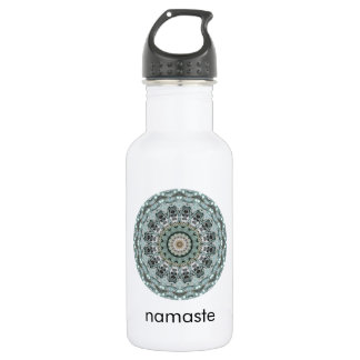 Turquoise and Gray Mandala Art Namaste 532 Ml Water Bottle