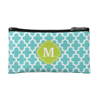 Turquoise and Green Modern Moroccan Monogram Makeup Bag