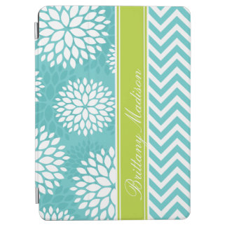 Turquoise and Green Monogram Chevron and Floral iPad Air Cover