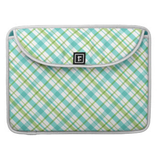 Turquoise and Green Plaid Pattern Sleeve For MacBooks