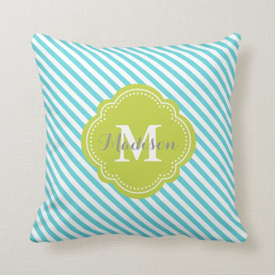 Turquoise and Green Striped Monogram Throw Pillow