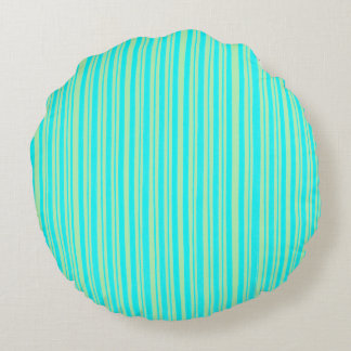 turquoise and green stripes  - round Pillow