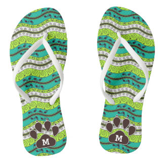 Turquoise and Green with Brown Dog Paw Waves Flip Flops