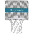 Turquoise and Grey Chevrons Custom Name Mini Basketball Hoop