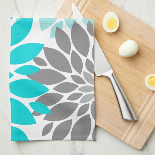 Turquoise and Grey Chrysanthemums Floral Pattern Kitchen Towel