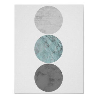 Turquoise and grey circles poster