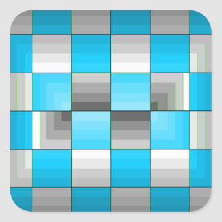 Turquoise and Grey Optical Illusion Checkerboard Square Sticker