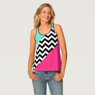 Turquoise and Hot Pink Color Block Chevron Tank Top