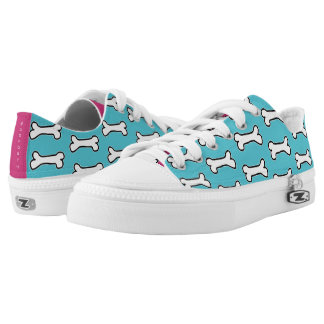 Turquoise and Hot Pink Dog Bone #GOFORTH Low-Top Sneakers