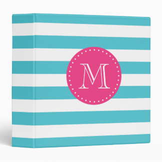 Turquoise and Hot Pink Stripes Custom Monogram Binders