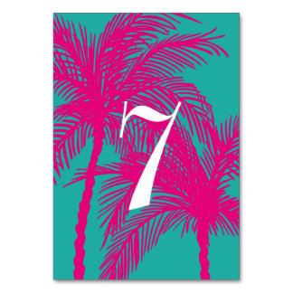 Turquoise and Hot Pink Wedding Table Numbers
