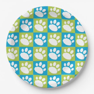 Turquoise and Lime Green Checkerboard Paw Print Paper Plate