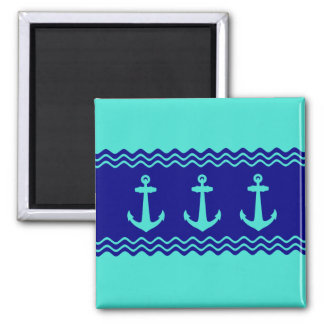 Turquoise And Navy Blue Coastal Pattern Anchors Square Magnet