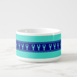 Turquoise and Navy Blue Coastal Pattern Lobster Bowl