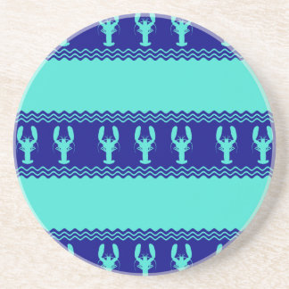 Turquoise and Navy Blue Coastal Pattern Lobster Coaster