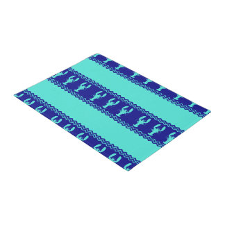 Turquoise and Navy Blue Coastal Pattern Lobster Doormat