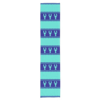 Turquoise and Navy Blue Coastal Pattern Lobster Short Table Runner