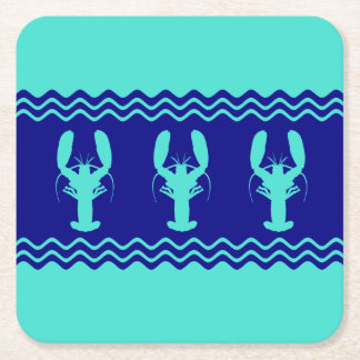 Turquoise and Navy Blue Coastal Pattern Lobster Square Paper Coaster