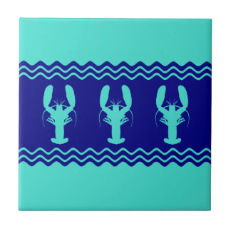 Turquoise and Navy Blue Coastal Pattern Lobster Tile