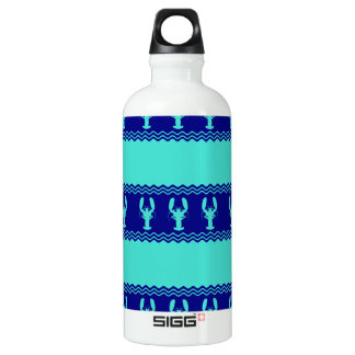 Turquoise and Navy Blue Coastal Pattern Lobster Water Bottle