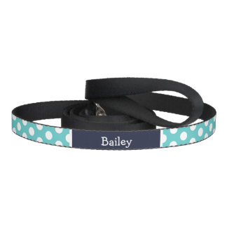 Turquoise and Navy Blue Polka Dots Monogram Pet Leash
