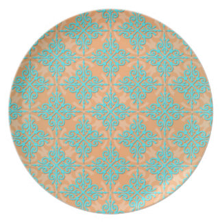 Turquoise and Orange Damask Pattern Dinner Plates