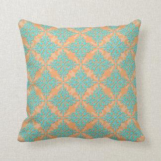 Turquoise and Orange Damask Pattern Throw Pillow