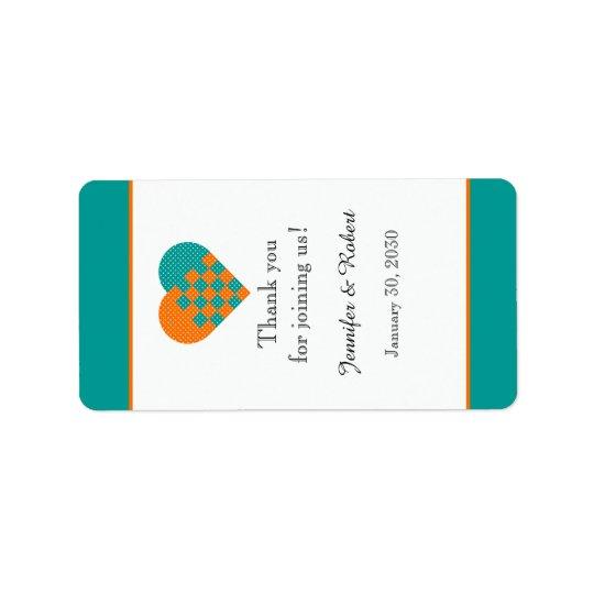 Turquoise and Orange Heart Lip Balm Label