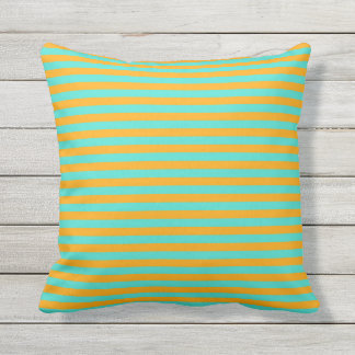 Turquoise and Orange Striped Outdoor Throw Pillow