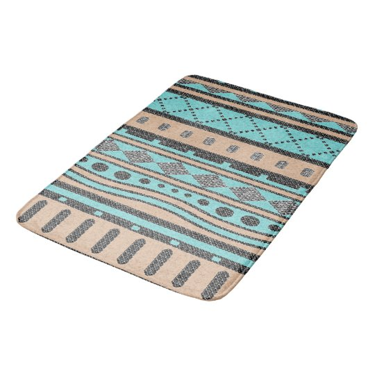 Turquoise And Peach Aztec Pattern Bathroom Mat